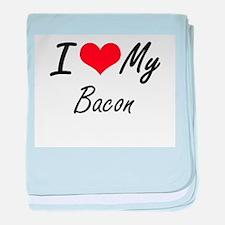 I Love My Bacon baby blanket