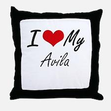 I Love My Avila Throw Pillow