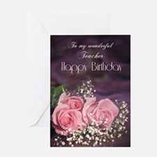 For teacher, Happy birthday with roses Greeting Ca