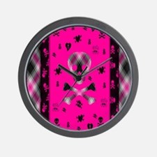 Plaid pink Wall Clock