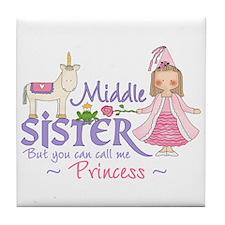 Unicorn Princess Middle Sister Tile Coaster