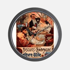 Vintage poster - Biscuits Champagne Wall Clock