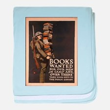 Vintage poster - Books Wanted baby blanket