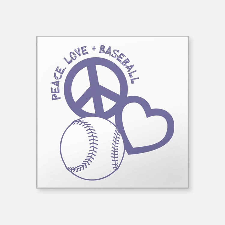 "PEACE-LOVE-BASEBALL Square Sticker 3"" x 3"""