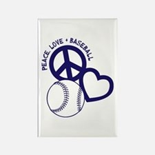 PEACE-LOVE-BASEBALL Rectangle Magnet