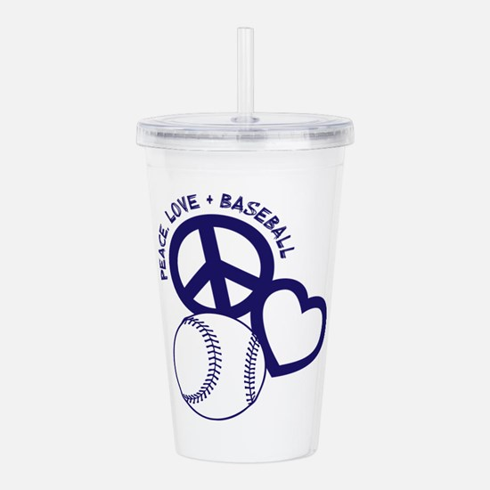 PEACE-LOVE-BASEBALL Acrylic Double-wall Tumbler