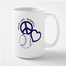 PEACE-LOVE-BASEBALL Large Mug