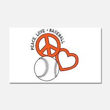 PEACE-LOVE-BASEBALL Car Magnet 20 x 12