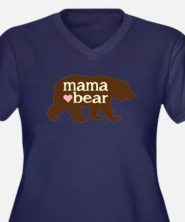 Mama Bear Women's V-Neck Dark Plus Size T-Shir