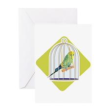 Parakeet in Bird Cage Greeting Card
