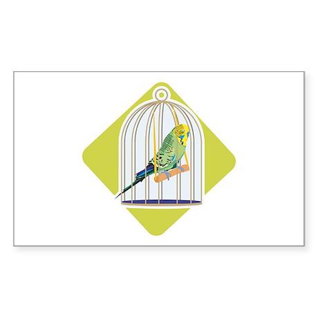 Parakeet in Bird Cage Rectangle Sticker