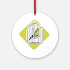 Parakeet in Bird Cage Ornament (Round)