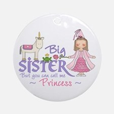 Unicorn Princess Big Sister Ornament (Round)