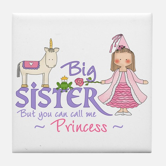 Unicorn Princess Big Sister Tile Coaster