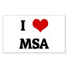 I Love MSA Rectangle Decal