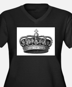 Unique King queen Women's Plus Size V-Neck Dark T-Shirt