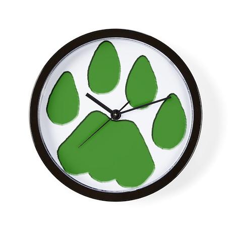 Green Cougar Track Wall Clock