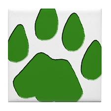 Green Cougar Track Tile Coaster