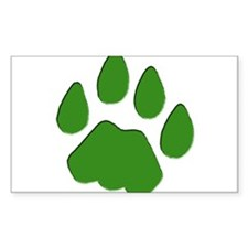 Green Cougar Track Rectangle Decal