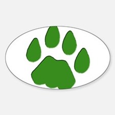 Green Cougar Track Oval Decal
