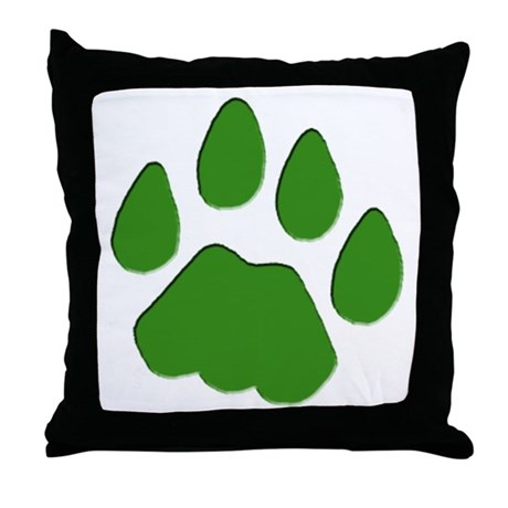 Green Cougar Track Throw Pillow