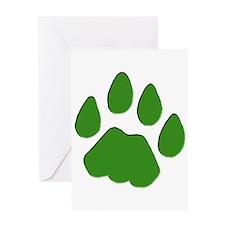 Green Cougar Track Greeting Card