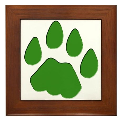 Green Cougar Track Framed Tile