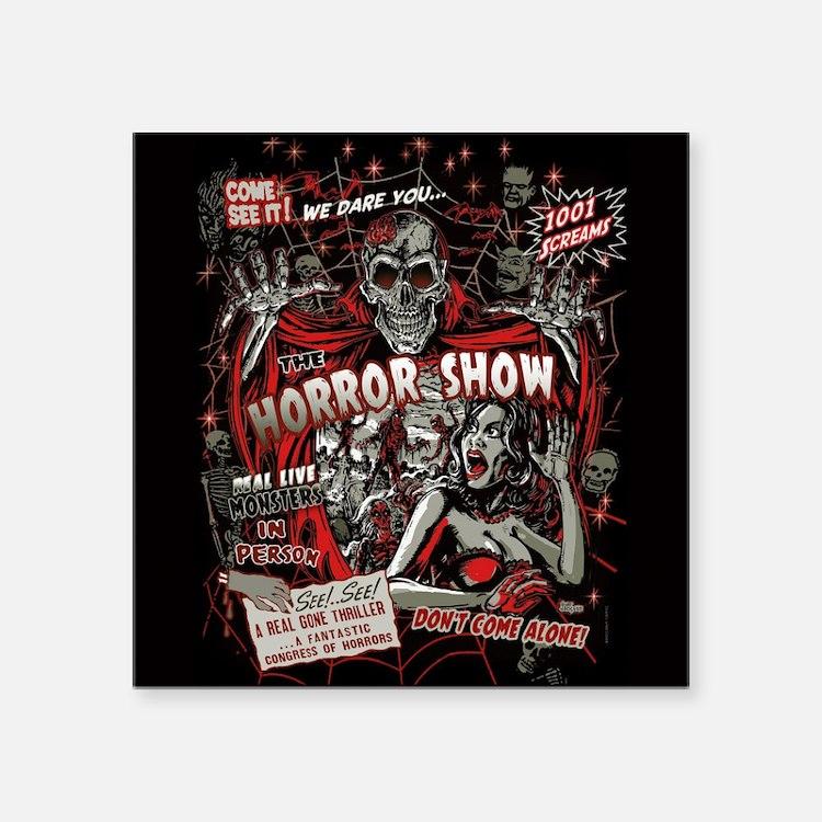 "Horror Movie Monsters Spook Square Sticker 3"" x 3"""