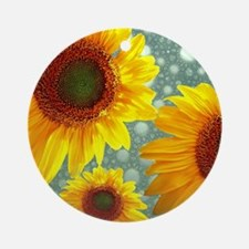 Happy Bubbly Sunflowers Round Ornament