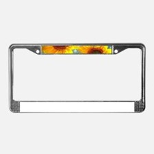 Happy Bubbly Sunflowers License Plate Frame