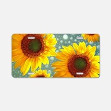 Happy Bubbly Sunflowers Aluminum License Plate