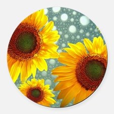 Happy Bubbly Sunflowers Round Car Magnet