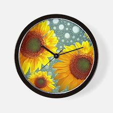 Happy Bubbly Sunflowers Wall Clock