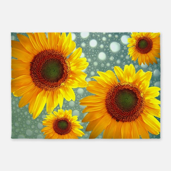 Happy Bubbly Sunflowers 5'x7'Area Rug