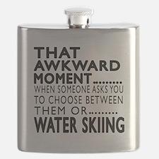 Water Skiing Awkward Moment Designs Flask