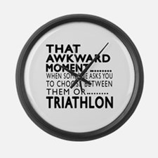 Triathlon Awkward Moment Designs Large Wall Clock