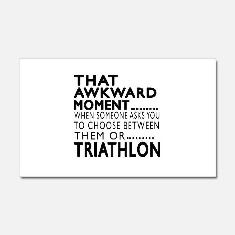 Triathlon Awkward Moment Design Car Magnet 20 x 12