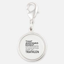 Triathlon Awkward Moment Desig Silver Round Charm