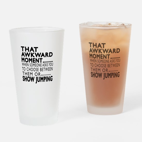 Show Jumping Awkward Moment Designs Drinking Glass