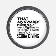 Scuba Diving Awkward Moment Designs Wall Clock