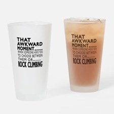 Rock Climbing Awkward Moment Design Drinking Glass