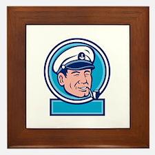 Sea Captain Smoking Pipe Circle Retro Framed Tile
