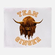 Team Ginger Scottish Highland Cow Throw Blanket