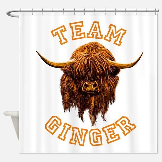 Team Ginger Scottish Highland Cow Shower Curtain