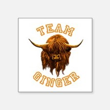 "Team Ginger Scottish Highla Square Sticker 3"" x 3"""