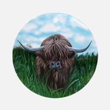 Scottish Highland Cow Painting Ornament (Round)