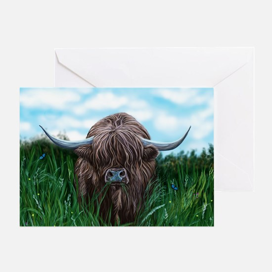 Scottish Highland Cow Painting Greeting Cards