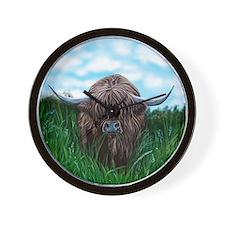 Scottish Highland Cow Painting Wall Clock