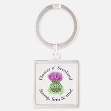 Scottish Thistle Square Keychain