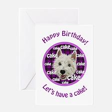 Smiley Westie, Happy Birthday cake Greeting Cards
